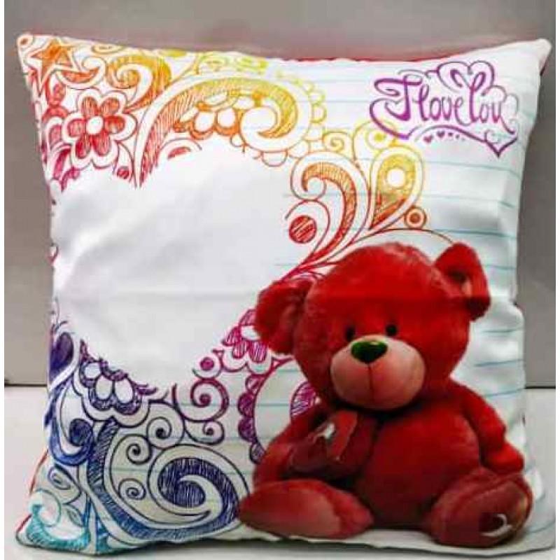 TEDDY BEAR SATIN PILLOW